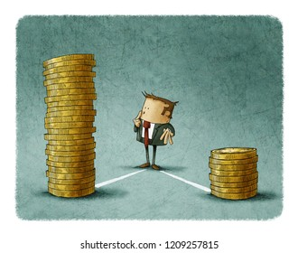 A businessman is standing between two stacks of coins, think which one he should choose.