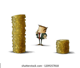A businessman is standing between two stacks of coins, think which one he should choose.. isolated