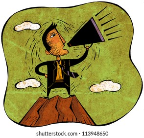 Businessman standing on peak of mountain yelling through a megaphone