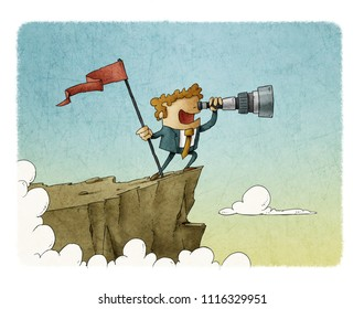 businessman standing on top of a mountain with a flag and looking into the telescope, business concept success.