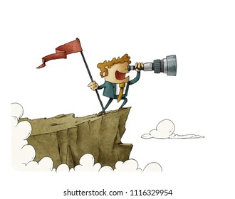 businessman standing on top of a mountain with a flag and looking into the telescope, business concept success. isolated.