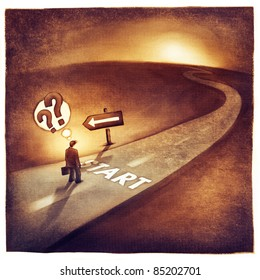 businessman at the start of his journey making decision which way to go (loose artistic painting)