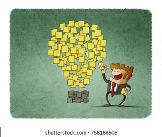 businessman sticks a post note next to others that are shaped like an idea. creativity concept.