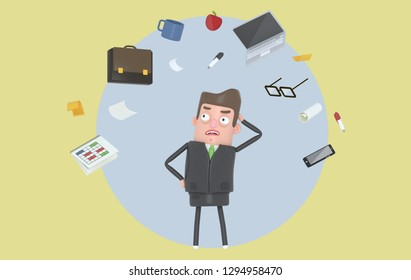 Businessman stressing looking at office accesories. Background. Isolated. 3d illustration