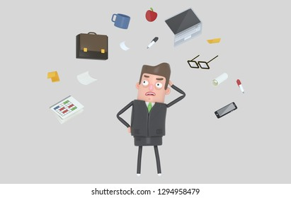Businessman stressing looking at office accesories. Isolated. 3d illustration