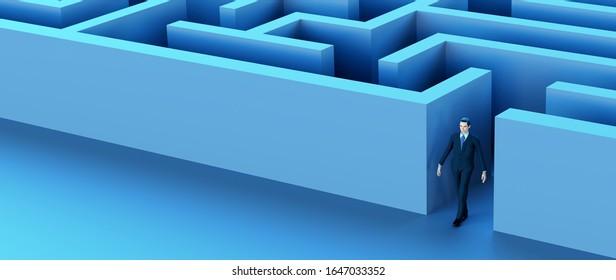 businessman success winner maze labyrinth 3D illustration