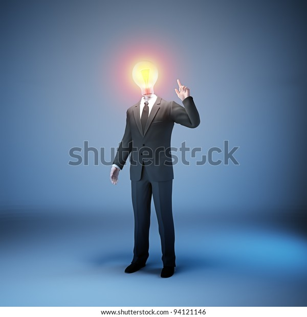 A businessman in a suit with a lightbulb head - innovation in business concept
