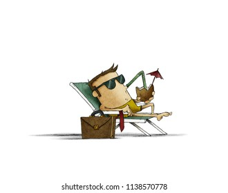 businessman with sunglasses on a beach lounger sunbathing and drinking a cocktail. business break concept. isolated