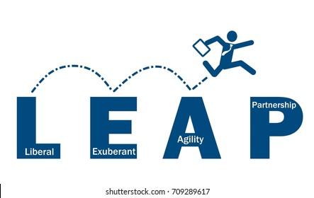 Businessman take leap jump