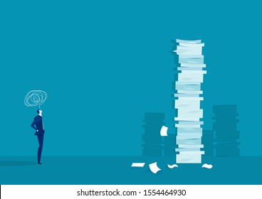 businessman think and solution with very tall paper stack vs man on blue background