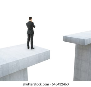 Businessman thinking how to overcome gap on white background. Trouble concept. 3D Rendering