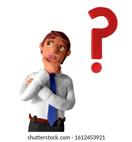Businessman is thinking. Question mark. Handmade with plasticine or clay. Isolated on white background – Illustration 3D