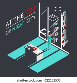 Businessman at top of a night city in Penthouse office workroom with laptop and documents isometric flat design concept   illustration