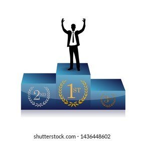businessman in top of a podium. business champion isolated over a white background