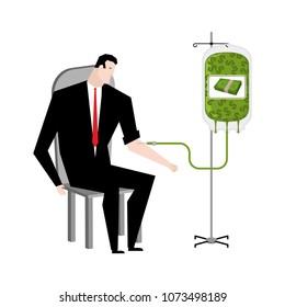 Businessman transfusion of money. Donation of cash bag. Transfusion of finance. Business illustration
