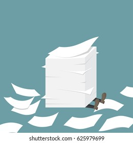 Businessman under the paper pile. Paperwork. Office routine