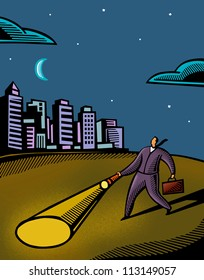 A businessman using a flashlight to navigate in the dark