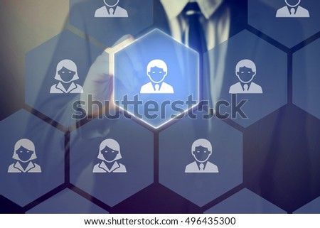 Businessman using a stylus pen touching on the best and talent people on touch screen