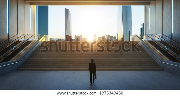 Businessman walk from underground upward to modern urban city. Ambitions concept. 3d rendering