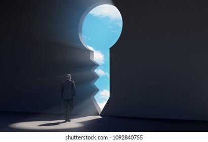 Businessman walking in dark room through key shaped door revealing blue sky for new opportunities, 3D rendering