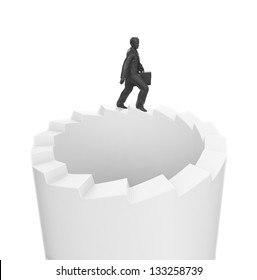 A businessman walking on endless stairs
