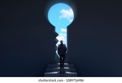 Businessman walking on stairway in dark room through key shaped door revealing blue sky for new opportunities, 3D rendering