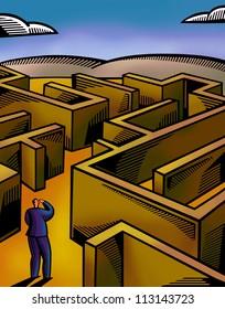 A businessman walking through a maze