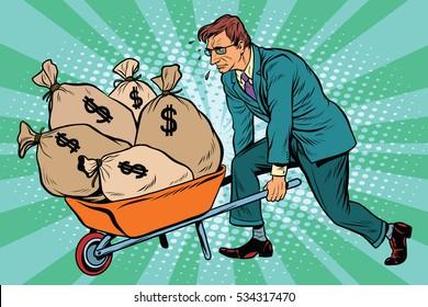 Businessman wheel heavy garden cart with money, pop art retro . Business and Finance