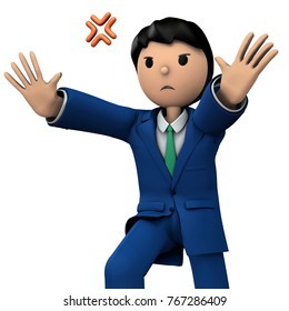Businessman who rejects with full power. 3D illustration
