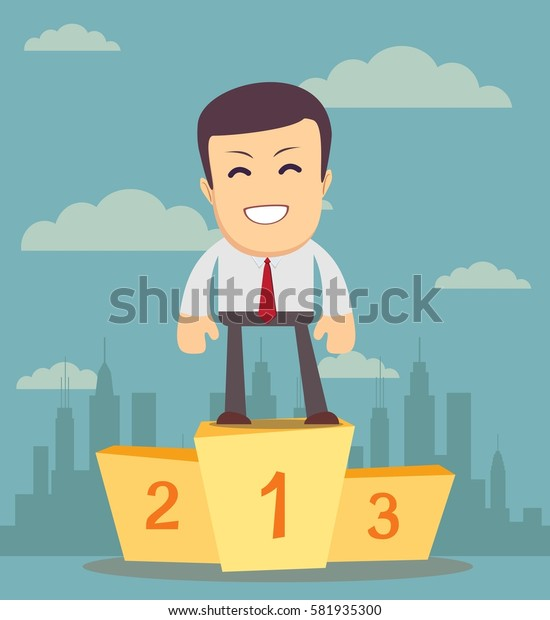 Businessman winner standing in first place on a podium he celebrates his victory. illustration