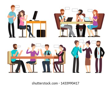 Businessman and woman have conversation in different business situations in office. People meeting characters set. Business man character dialog illustration
