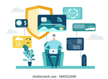 Businessman working online, making shopping, payments, using online banking, keeping private information safely in cloud. Internet Security and data protection