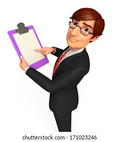 Businessman with writing pad