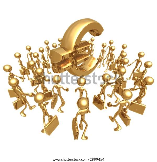 Businessmen Gathering Towards Euro Symbol