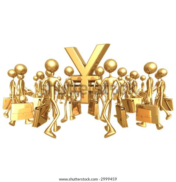 Businessmen Gathering Towards Yen Symbol