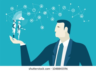 Businessmen holding and looking at mini robots, surrounded by communication icons. Innovation and making decision concept illustration