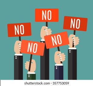 Businessmen holding a signboard with the word NO