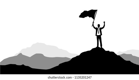 Businessmen holding a victory flag on a mountain peak. business concept. leadership concept. illustration design graphic