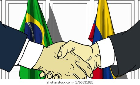 Businessmen or politicians shake hands against flags of brazil and colombia. official meeting or cooperation related cartoon illustration