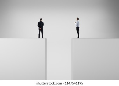 Businessmen standing on abstract background with gap. Risk, challenge and teamwork concept. 3D Rendering