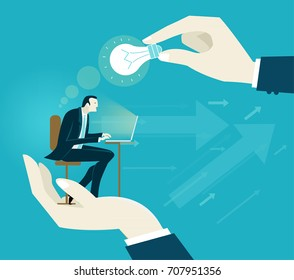 Businessmen working on the computer. Human hands holding him and lighting from the top, representing control, support and coordination. Concept illustration