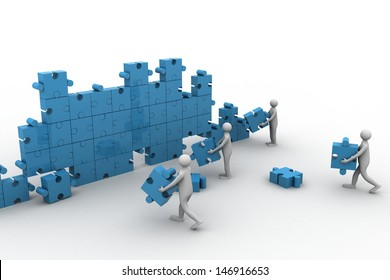 businesspeople construction a puzzle wall