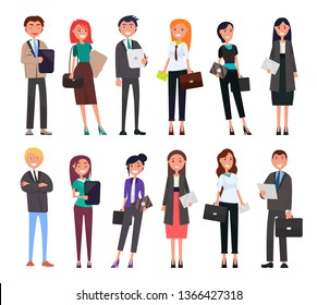 Businesspeople in elegant expensive suits successful men and women with briefcases isolated set executive managers cartoon characters dressed formally