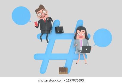 Businesspeople over hashtag internet symbol. 3d illustration