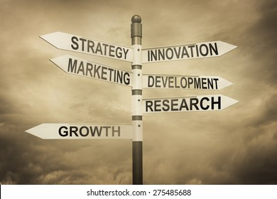 Business,strategy,marketing,development concept with road sign