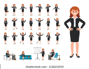 Businesswoman in black suit cartoon character. Illustration of female working in office
