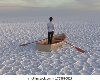 businesswoman in a boat in the desert, 3d illustration