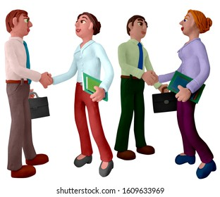 Businesswoman and businessman with handshaking. Successful business deal. Two people formal meeting.  Handmade with plasticine or clay. Isolated on white background – Illustration 3D