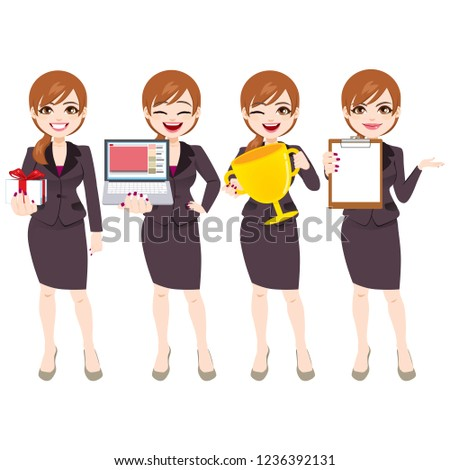 053fffa3ff6c6 Royalty-free stock illustration ID: 1236392131. Businesswoman character in  different poses and expressions holding office accessories - Illustration