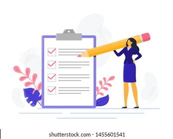 Businesswoman checklist. Successful woman checking task success, completed business tasks. Check mark list, office organization briefings or questionnaire checkbox  illustration